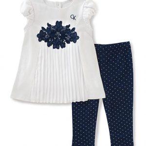 Calvin Klein kislány együttes, zsorzsett tunika, navy leggings, 24 hónap