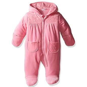Calvin Klein márkás babaruha kislány velúr téli kapucnis, rózsaszín overál
