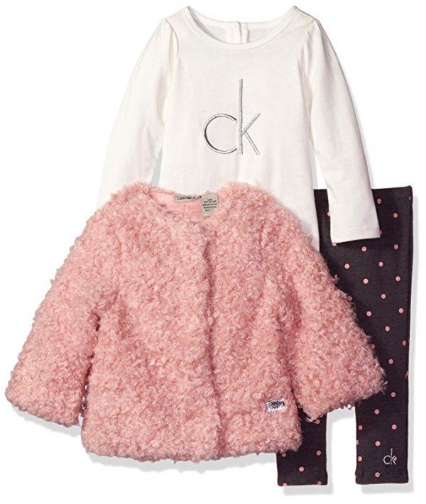 Új, eredeti, címkés Calvin Klein kislány babaruha, háromrészes együttes
