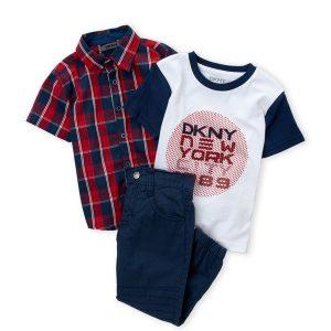 DKNY márkás babaruha kisfiú szett ing nadrág póló
