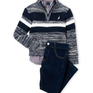 Nautica márkás babaruha kisfiú szett ing nadrág pulóver