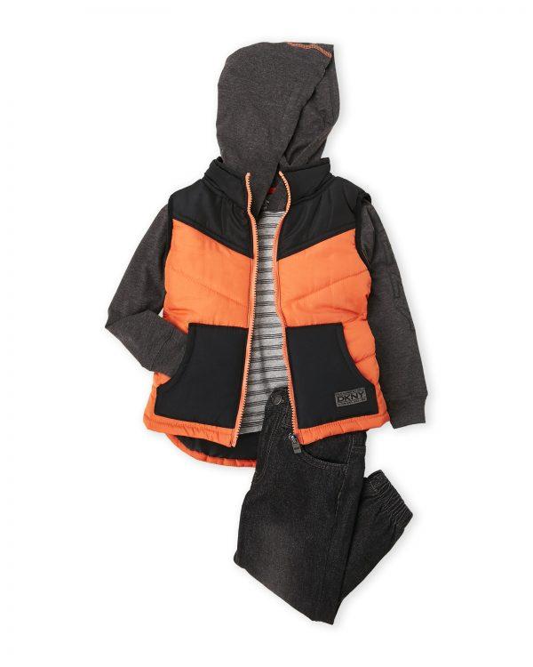 DKNY márkás babaruha szett pufi mellénnyel és pulóverrel