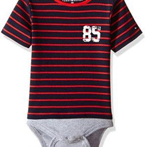 Új, eredeti, címkés Tommy Hilfiger kisfiú babaruha, piros csíkos body.