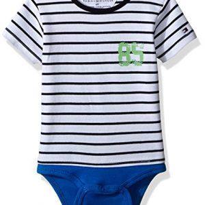 Új, eredeti, címkés Tommy Hilfiger kisfiú babaruha, kék csíkos body.