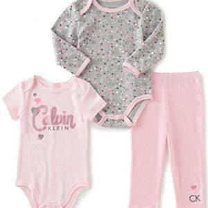 Új, címkés, eredeti Calvin Klein babaruha, kislány háromrészes szett.