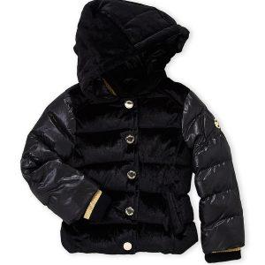 Új, eredeti, címkés Michael Kors márkás gyerekruha, kislány pufikabát.