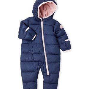 Új, címkés, eredeti Michael Kors márkás babaruha kislány téli kapucnis, navy overál.