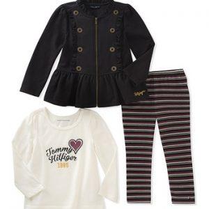 Eredeti új címkésTommy Hilfiger márkás gyerekruha három részes kabátos szett.