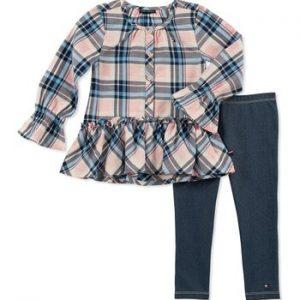 Új, eredeti, címkés Tommy Hilfiger gyerekruha, kislány kétrészes szett.