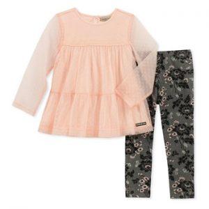 Új, eredeti, címkés Calvin Klein gyerekruha, kislány kétrészes szett.