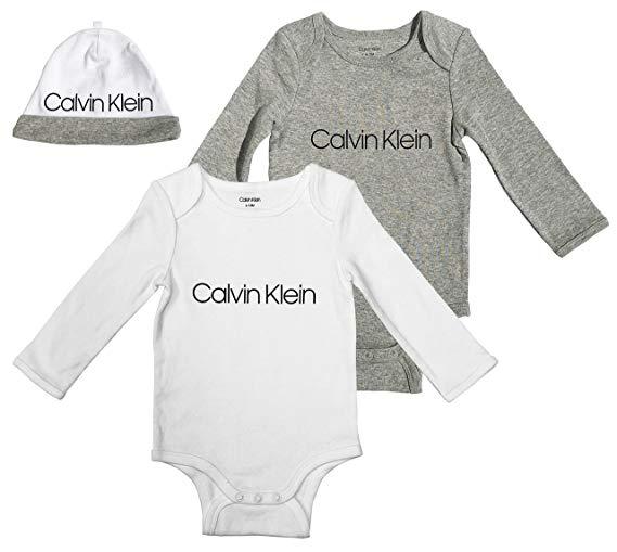 Új, címkés Calvin Klein márkás babaruha, unisex 3részes bodyszett.