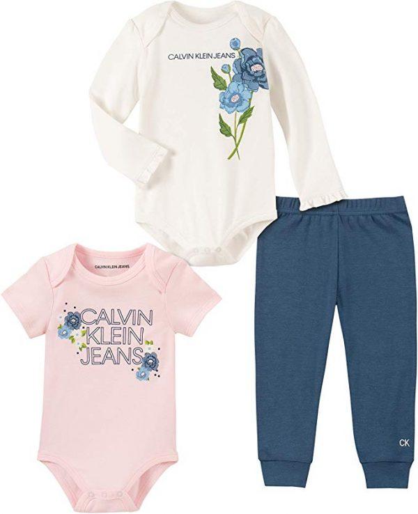 Új, eredeti, címkés Calvin Klein virágmintás 3 részes kislány szett