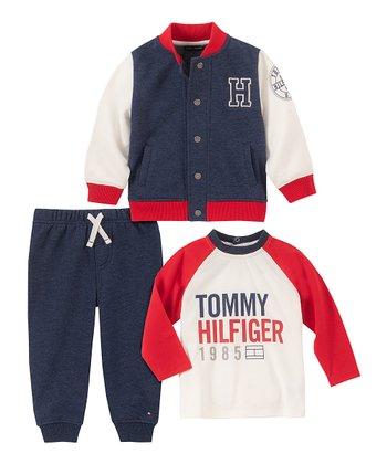 Új, eredeti, címkés Tommy Hilfiger babaruha, kisfiú 3 részes szett.