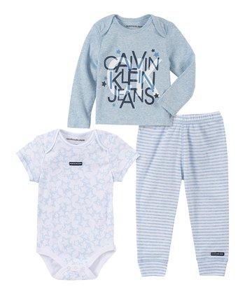 Új, eredeti, címkés Calvin Klein babaruha, kisfiú 3 részes szett.