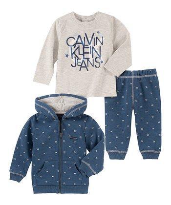 Eredeti, új, címkés Calvin Klein márkás babaruha, kisfiú 3részes szett