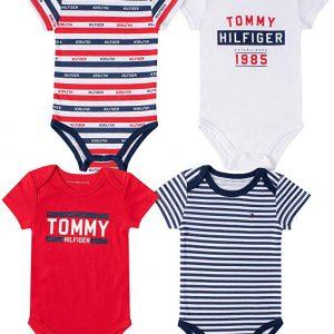 Új, eredeti, márkás Tommy Hilfiger babaruha, kisfiú 4darabos bodyszett.
