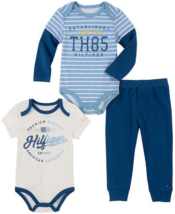 Új, címkés Tommy Hilfiger kisfiú babaruha, 3részes bodyszett.
